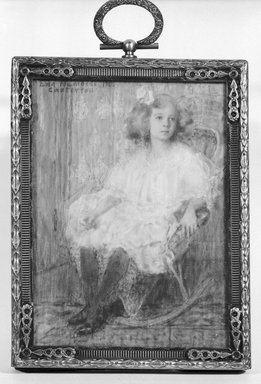 Eda Nemoede Casterton (American, 1877-1969). <em>Mae Olson</em>, 1906. Watercolor on ivory in brass frame under glass, Image (sight): 3 13/16 x 2 3/4 in. (9.7 x 7 cm). Brooklyn Museum, Museum Collection Fund, 31.763 (Photo: Brooklyn Museum, 31.763_bw_SL1.jpg)