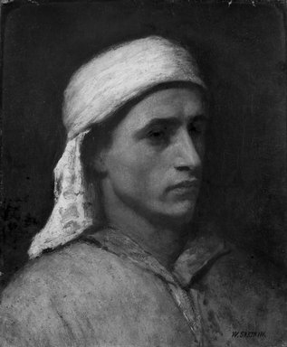 William Sartain (American, 1843-1924). <em>Arab Head</em>, ca. 1880. Oil, 18 1/8 x 15 1/16 in. (46 x 38.2 cm). Brooklyn Museum, Gift of the children of John J. Walton, 31.765 (Photo: Brooklyn Museum, 31.765_bw.jpg)