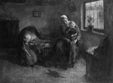 Jacob Simon Hendrik Kever (Dutch, 1854-1922). <em>Dutch Interior</em>, n.d. Oil on canvas, 42 1/2 x 56 1/16 in. (108 x 142.4 cm). Brooklyn Museum, Gift of the children of John J. Walton, 31.766 (Photo: Brooklyn Museum, 31.766_cropped_bw.jpg)