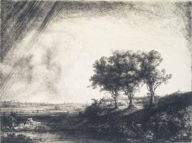 Rembrandt Harmensz. van Rijn (Dutch, 1606-1669). <em>The Three Trees</em>, 1643. Etching, drypoint, and engraving on laid paper, Plate: 8 7/16 x 11 in. (21.4 x 27.9 cm). Brooklyn Museum, Gift of Mr. and Mrs. William A. Putnam, 31.780 (Photo: Brooklyn Museum, 31.780_transp1087.jpg)