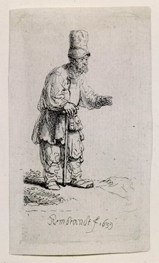Rembrandt Harmensz. van Rijn (Dutch, 1606-1669). <em>A Peasant in a High Cap, Standing Leaning on a Stick</em>, 1639. Etching on laid paper, Plate: 3 3/8 x 1 7/8 in. (8.6 x 4.8 cm). Brooklyn Museum, Gift of Mr. and Mrs. William A. Putnam, 31.784 (Photo: Brooklyn Museum, 31.784_SL4.jpg)