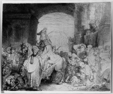Rembrandt Harmensz. van Rijn (Dutch, 1606-1669). <em>The Triumph of Mordecai</em>, ca. 1641. Etching and drypoint on laid paper, Plate: 6 3/4 x 8 1/2 in. (17.1 x 21.6 cm). Brooklyn Museum, Gift of Mr. and Mrs. William A. Putnam, 31.786 (Photo: Brooklyn Museum, 31.786_acetate_bw.jpg)