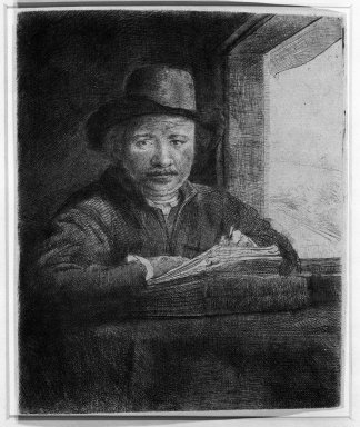 Rembrandt Harmensz. van Rijn (Dutch, 1606-1669). <em>Self-Portrait Drawing at a Window</em>, 1648. Etching, drypoint, and burin on laid paper, Plate: 6 1/8 x 5 1/16 in. (15.6 x 12.9 cm). Brooklyn Museum, Gift of Mr. and Mrs. William A. Putnam, 31.788 (Photo: Brooklyn Museum, 31.788_bw.jpg)