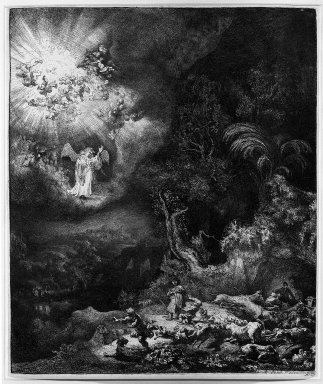 Rembrandt Harmensz. van Rijn (Dutch, 1606-1669). <em>The Angel Appearing to the Shepherds</em>, 1634. Etching, burin with touches of drypoint on laid paper, Plate: 10 x 8 1/4 in. (25.4 x 21 cm). Brooklyn Museum, Gift of Mr. and Mrs. William A. Putnam, 31.790 (Photo: Brooklyn Museum, 31.790_acetate_bw.jpg)