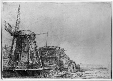 Rembrandt Harmensz. van Rijn (Dutch, 1606-1669). <em>The Windmill</em>, 1641. Etching on laid paper, Plate: 5 13/16 x 8 1/4 in. (14.8 x 21 cm). Brooklyn Museum, Gift of Mr. and Mrs. William A. Putnam, 31.792 (Photo: Brooklyn Museum, 31.792_acetate_bw.jpg)