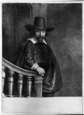 Rembrandt Harmensz. van Rijn (Dutch, 1606-1669). <em>Ephraim Bonus, Physician</em>, 1647. Etching, drypoint, and burin on laid paper, Plate: 9 1/2 x 7 in. (24.1 x 17.8 cm). Brooklyn Museum, Gift of Mr. and Mrs. William A. Putnam, 31.793 (Photo: Brooklyn Museum, 31.793_acetate_bw.jpg)