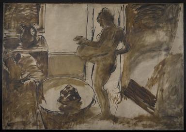 Edgar Degas (French, 1834-1917). <em>Nude Woman Drying Herself (Femme au Tub)</em>, ca. 1884-1886. Oil on canvas, 59 3/8 x 84 1/8 in. (150.8 x 213.7 cm). Brooklyn Museum, Carll H. de Silver Fund, 31.813 (Photo: Brooklyn Museum, 31.813_PS9.jpg)