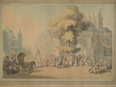 Thomas Rowlandson (British, 1756-1827). <em>The Market Place</em>, 1790. Watercolor, 14 1/2 x 21 1/2 in. (36.8 x 54.6 cm). Brooklyn Museum, Carll H. de Silver Fund, 31.814 (Photo: Brooklyn Museum, 31.814_PS2.jpg)