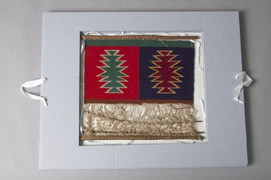 Navajo. <em>Model Loom with Textile in Process of Being Made</em>, early 20th century. Wool, cotton, wood loom, 9 1/4 x 15 5/8 in. (23.5 x 39.7 cm) blanket. Brooklyn Museum, Gift of Mrs. Joshua M. Van Cott, 31093a-d. Creative Commons-BY (Photo: Brooklyn Museum, 31093a-d_PS5.jpg)