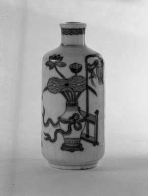 <em>Snuff Bottle of Club Shape, Cylindrical Body</em>, 18th-19th century. Porcelain, blue underglaze, 3 1/8 x 1 3/8 in. (8 x 3.5 cm). Brooklyn Museum, Gift of the executors of the Estate of Colonel Michael Friedsam, 32.1006. Creative Commons-BY (Photo: Brooklyn Museum, 32.1006_bw.jpg)