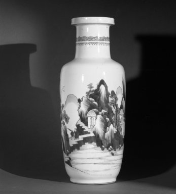 <em>Vase</em>, 1662-1722. Porcelain, blue underglaze, 18 5/16 x 7 1/16 in. (46.5 x 18 cm). Brooklyn Museum, Gift of the executors of the Estate of Colonel Michael Friedsam, 32.1019. Creative Commons-BY (Photo: Brooklyn Museum, 32.1019_bw.jpg)