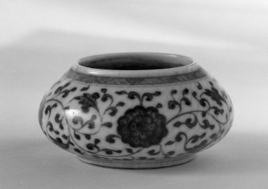 <em>Small Water Pot with Low Foot</em>, 1736-1795. Porcelain, blue underglaze, 1 1/2 x 2 15/16 in. (3.8 x 7.5 cm). Brooklyn Museum, Gift of the executors of the Estate of Colonel Michael Friedsam, 32.1024. Creative Commons-BY (Photo: Brooklyn Museum, 32.1024_bw.jpg)