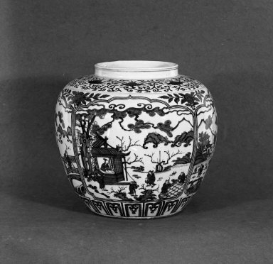 <em>Large Jar</em>, 1573-1619. Porcelain, blue underglaze, 19 1/8 x 14 9/16 in. (48.5 x 37 cm). Brooklyn Museum, Gift of the executors of the Estate of Colonel Michael Friedsam, 32.1025a-b. Creative Commons-BY (Photo: Brooklyn Museum, 32.1025a-b_acetate_bw.jpg)