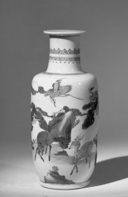<em>Vase</em>, 1662-1722. Porcelain with cobalt-blue underglaze decoration, 10 1/4 x 4 5/16 in. (26 x 11 cm). Brooklyn Museum, Gift of the executors of the Estate of Colonel Michael Friedsam, 32.1039. Creative Commons-BY (Photo: Brooklyn Museum, 32.1039_acetate_bw.jpg)