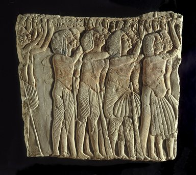 <em>Soldiers Honoring Their Lord</em>, ca. 1336-1327 B.C.E. Limestone, pigment, 16 7/16 x 14 7/16 in. (41.8 x 36.6 cm). Brooklyn Museum, Charles Edwin Wilbour Fund, 32.103. Creative Commons-BY (Photo: Brooklyn Museum, 32.103_SL1.jpg)