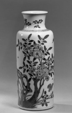 <em>Vase</em>, 1662-1722. Porcelain with cobalt-blue underglaze decoration, 10 9/16 x 3 13/16 in. (26.8 x 9.7 cm). Brooklyn Museum, Gift of the executors of the Estate of Colonel Michael Friedsam, 32.1040. Creative Commons-BY (Photo: Brooklyn Museum, 32.1040_acetate_bw.jpg)