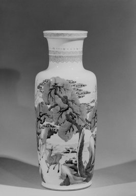 <em>Rouleau Vase</em>, 1662-1722. Porcelain with cobalt underglaze decoration, 18 1/4 x 7 in. (46.4 x 17.8 cm). Brooklyn Museum, Gift of the executors of the Estate of Colonel Michael Friedsam, 32.1043. Creative Commons-BY (Photo: Brooklyn Museum, 32.1043_acetate_bw.jpg)