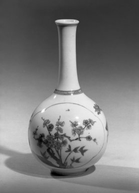 <em>Oil Adze Vase</em>, 1662-1722. Porcelain with cobalt-blue underglaze decoration, 7 1/2 x 3 7/8 in. (19 x 9.8 cm). Brooklyn Museum, Gift of the executors of the Estate of Colonel Michael Friedsam, 32.1049. Creative Commons-BY (Photo: Brooklyn Museum, 32.1049_acetate_bw.jpg)