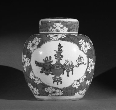 <em>Jar with Cover</em>, 1662-1722. Porcelain with cobalt-blue underglaze decoration, 9 1/4 x 8 1/4 in. (23.5 x 21 cm). Brooklyn Museum, Gift of the executors of the Estate of Colonel Michael Friedsam, 32.1056. Creative Commons-BY (Photo: Brooklyn Museum, 32.1056a-b_view1_bw.jpg)