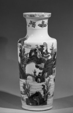 <em>Rouleau Vase</em>, 1662-1722. Porcelain with cobalt-blue underglaze decoration, 18 3/4 x 7 7/8 in. (47.6 x 20 cm). Brooklyn Museum, Gift of the executors of the Estate of Colonel Michael Friedsam, 32.1058. Creative Commons-BY (Photo: Brooklyn Museum, 32.1058_acetate_bw.jpg)