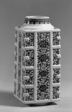 <em>Vase</em>, 1736-1795. Porcelain, blue underglaze, 10 1/4 x 4 5/16 in. (26 x 11 cm). Brooklyn Museum, Gift of the executors of the Estate of Colonel Michael Friedsam, 32.1062. Creative Commons-BY (Photo: Brooklyn Museum, 32.1062_acetate_bw.jpg)