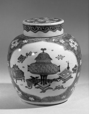 <em>Jar with Cover</em>, 1662-1722. Porcelain with cobalt-blue underglaze decoration, 7 1/2 x 6 7/8 in. (19 x 17.5 cm). Brooklyn Museum, Gift of the executors of the Estate of Colonel Michael Friedsam, 32.1063a-b. Creative Commons-BY (Photo: Brooklyn Museum, 32.1063a-b_acetate_bw.jpg)