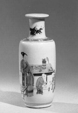 <em>Vase</em>, 1662-1722. Porcelain with overglaze enamels (wucai) decoration, 10 x 3 15/16 in. (25.4 x 10 cm). Brooklyn Museum, Gift of the executors of the Estate of Colonel Michael Friedsam, 32.1085. Creative Commons-BY (Photo: Brooklyn Museum, 32.1085_acetate_bw.jpg)