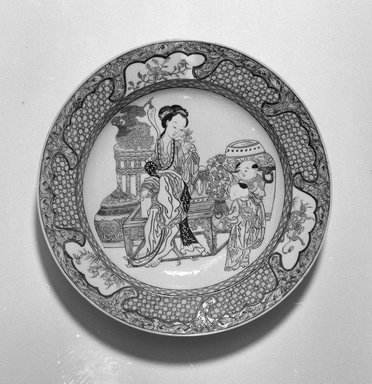 <em>Plate with a Domestic Scene</em>, 1723-1735. Porcelain, overglaze polychrome enamels, 1 7/16 x 8 3/8 in. (3.7 x 21.3 cm). Brooklyn Museum, Gift of the executors of the Estate of Colonel Michael Friedsam, 32.1089. Creative Commons-BY (Photo: Brooklyn Museum, 32.1089_bw.jpg)
