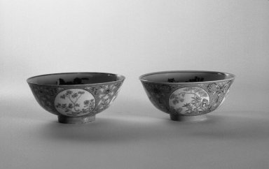 <em>Pair of Bowls</em>, 1821-1850. Porcelain with famille rose enamel and underglaze, 1: 2 1/2 x 5 7/8 in. (6.4 x 15 cm). Brooklyn Museum, Gift of the executors of the Estate of Colonel Michael Friedsam, 32.1091.1-.2. Creative Commons-BY (Photo: Brooklyn Museum, 32.1091.1_32.1091.2_bw.jpg)