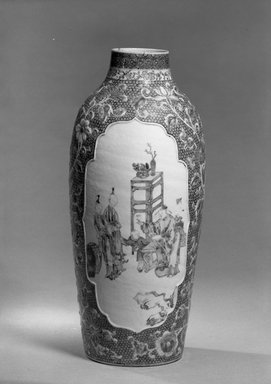 <em>Vase</em>, 1736-1795. Porcelain with famille rose and cobalt-blue underglaze decoration, 11 1/2 x 5 5/16 in. (29.2 x 13.5 cm). Brooklyn Museum, Gift of the executors of the Estate of Colonel Michael Friedsam, 32.1094. Creative Commons-BY (Photo: Brooklyn Museum, 32.1094_acetate_bw.jpg)