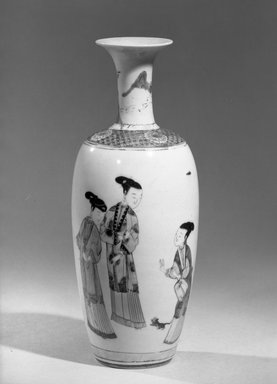 <em>Vase</em>, 1662-1772. Porcelain with overglaze enamel (wucai) decoration, 10 7/8 x 4 5/16 in. (27.6 x 11 cm). Brooklyn Museum, Gift of the executors of the Estate of Colonel Michael Friedsam, 32.1096. Creative Commons-BY (Photo: Brooklyn Museum, 32.1096_acetate_bw.jpg)