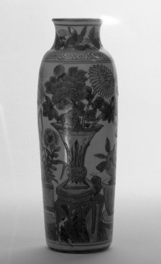 <em>Tubular Vase</em>, second half 16th century. Porcelain, overglaze enamels, 9 7/16 x 3 1/8 in. (23.9 x 8 cm). Brooklyn Museum, Gift of the executors of the Estate of Colonel Michael Friedsam, 32.1104. Creative Commons-BY (Photo: Brooklyn Museum, 32.1104_bw.jpg)