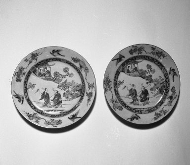 <em>Pair of Plates</em>, ca. 1740-1750. Porcelain with famille rose decoration, 1: 1 1/8 x 9 7/8 in. (2.8 x 25.1 cm). Brooklyn Museum, Gift of the executors of the Estate of Colonel Michael Friedsam, 32.1105.1-.2. Creative Commons-BY (Photo: Brooklyn Museum, 32.1105.1_32.1105.2_bw.jpg)