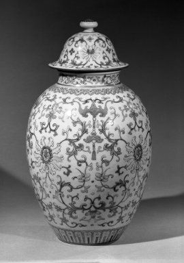 <em>Large Vase and Cover</em>, 1736-1795. Porcelain, overglaze enamels, 11 5/8 x 8 1/4 in. (29.5 x 21 cm). Brooklyn Museum, Gift of the executors of the Estate of Colonel Michael Friedsam, 32.1114a-b. Creative Commons-BY (Photo: Brooklyn Museum, 32.1114a-b_acetate_bw.jpg)