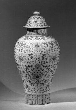 <em>Pair of Large Covered Baluster Shaped Vases</em>, late 18th century. Porcelain with famille rose decoration, 18 1/16 x 8 15/16 in. (45.8 x 22.7 cm). Brooklyn Museum, Gift of the executors of the Estate of Colonel Michael Friedsam, 32.1115.1a-b. Creative Commons-BY (Photo: Brooklyn Museum, 32.1115.1a-b_acetate_bw.jpg)
