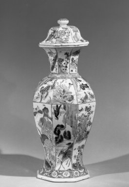 <em>Jar with Cover</em>, 1662-1772. Porcelain with overglaze enamel (wucai) design, 17 1/4 x 7 1/4 in. (43.8 x 18.4 cm). Brooklyn Museum, Gift of the executors of the Estate of Colonel Michael Friedsam, 32.1116a-b. Creative Commons-BY (Photo: Brooklyn Museum, 32.1116a-b_acetate_bw.jpg)