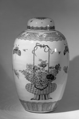 <em>Very Large Vase and Cover</em>, late 18th century. Porcelain, glaze, 20 3/8 x 12 7/16 in. (51.7 x 31.6 cm). Brooklyn Museum, Gift of the executors of the Estate of Colonel Michael Friedsam, 32.1124a-b. Creative Commons-BY (Photo: Brooklyn Museum, 32.1124a-b_acetate_bw.jpg)