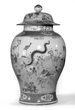 <em>Jar with Cover, One of Pair</em>, late 18th century. Porcelain with famille rose decoration, 19 5/16 x 10 13/16 in. (49 x 27.5 cm). Brooklyn Museum, Gift of the executors of the Estate of Colonel Michael Friedsam, 32.1125.2a-b. Creative Commons-BY (Photo: , 32.1125.1a-b_32.1125.2a-b_bw.jpg)
