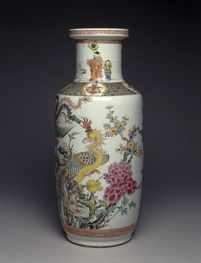 <em>Vase</em>, 1662-1772. Porcelain, overglaze enamel, 18 1/4 x 7 5/8 in. (46.4 x 19.4 cm). Brooklyn Museum, Gift of the executors of the Estate of Colonel Michael Friedsam, 32.1126. Creative Commons-BY (Photo: Brooklyn Museum, 32.1126_SL1.jpg)