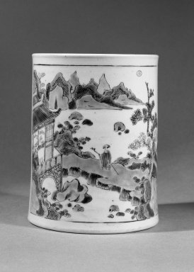 <em>Brush Holder</em>, 1662-1772. Porcelain with overglaze enamel (wucai) decoration, 5 1/2 x 4 1/8 in. (14 x 10.5 cm). Brooklyn Museum, Gift of the executors of the Estate of Colonel Michael Friedsam, 32.1127. Creative Commons-BY (Photo: Brooklyn Museum, 32.1127_bw.jpg)
