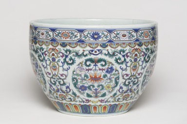 <em>Pair of Bowls (Gang)</em>, 1736-1795. Porcelain with overglaze enamel (doucai) decoration, 1: 9 1/16 x 13 in. (23 x 33 cm). Brooklyn Museum, Gift of the executors of the Estate of Colonel Michael Friedsam, 32.1130.1-.2. Creative Commons-BY (Photo: , 32.1130.1_view01_PS11.jpg)