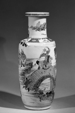 <em>Vase</em>, 1662-1722. Porcelain with overglaze enamel (wucai) decoration, 18 1/4 x 7 5/16 in. (46.4 x 18.5 cm). Brooklyn Museum, Gift of the executors of the Estate of Colonel Michael Friedsam, 32.1134. Creative Commons-BY (Photo: Brooklyn Museum, 32.1134_acetate_bw.jpg)