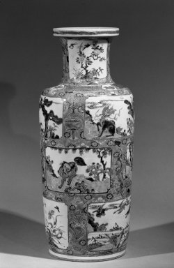 <em>Vase</em>, 1662-1772. Porcelain with overglaze enamel (wucai) decoration, 18 3/4 x 7 5/8 in. (47.6 x 19.4 cm). Brooklyn Museum, Gift of the executors of the Estate of Colonel Michael Friedsam, 32.1135. Creative Commons-BY (Photo: Brooklyn Museum, 32.1135_acetate_bw.jpg)