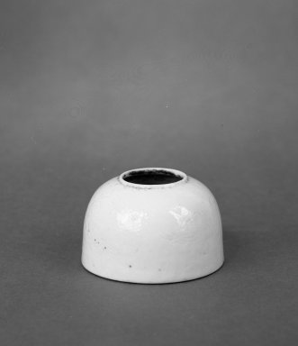 <em>Very Small Water Coupe</em>, 1736-1795. Porcelain, glaze, 1 3/8 x 2 1/4 in. (3.5 x 5.7 cm). Brooklyn Museum, Gift of the executors of the Estate of Colonel Michael Friedsam, 32.1180. Creative Commons-BY (Photo: Brooklyn Museum, 32.1180_bw.jpg)