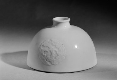 <em>Water Jar (Yu)</em>, 1662-1722. Porcelain, 3 1/4 x 5 3/16 in. (8.3 x 13.1 cm). Brooklyn Museum, Gift of the executors of the Estate of Colonel Michael Friedsam, 32.1183.2. Creative Commons-BY (Photo: , 32.1183.1_or_32.1183.2_acetate_bw.jpg)