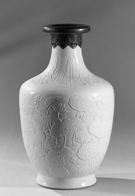 <em>Vase</em>, 1736-1795. Porcelain, glaze, 9 3/4 x 5 13/16 in. (24.8 x 14.7 cm). Brooklyn Museum, Gift of the executors of the Estate of Colonel Michael Friedsam, 32.1187. Creative Commons-BY (Photo: Brooklyn Museum, 32.1187_acetate_bw.jpg)