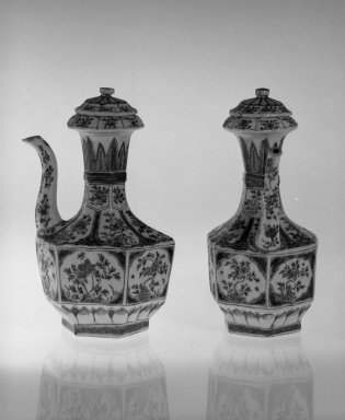 <em>Pair of Hexagonal Shaped Ewers</em>, 1662-1722. Porcelain with polychrome overglaze enamels (wucai) decoration, 9 1/4 x 5 1/4 in. (23.5 x 13.3 cm). Brooklyn Museum, Gift of the executors of the Estate of Colonel Michael Friedsam, 32.1191.2. Creative Commons-BY (Photo: , 32.1191.1_32.1191.2_bw.jpg)