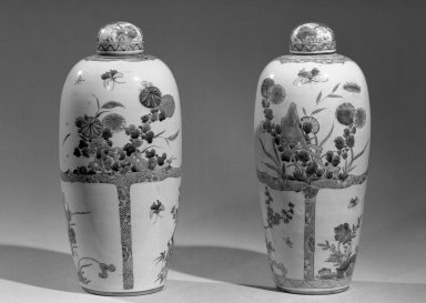 <em>Jar with Cover</em>, 1662-1772. Porcelain with polychrome overglaze enamel (wucai) decoration, 11 3/4 x 5 1/2 in. (29.9 x 13.9 cm). Brooklyn Museum, Gift of the executors of the Estate of Colonel Michael Friedsam, 32.1192.2a-b. Creative Commons-BY (Photo: , 32.1192.1_2_acetate_bw.jpg)