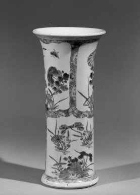 <em>Flower Wine Vessel (Gu)</em>, 1662-1722. Porcelain with polychrome overglaze enamels (wucai), 10 7/8 x 5 1/8 in. (27.6 x 13 cm). Brooklyn Museum, Gift of the executors of the Estate of Colonel Michael Friedsam, 32.1193. Creative Commons-BY (Photo: Brooklyn Museum, 32.1193_acetate_bw.jpg)