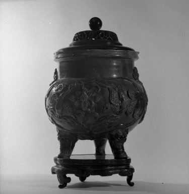 <em>Tripod Censer with Cover and Stand</em>, 1644-1911. Earthenware with three-color (sancai) glaze, 11 1/4 x 11 7/16 x 9 1/4 in. (28.6 x 29 x 23.5 cm). Brooklyn Museum, Gift of the executors of the Estate of Colonel Michael Friedsam, 32.1308a-c. Creative Commons-BY (Photo: Brooklyn Museum, 32.1308a-b_view1_bw.jpg)